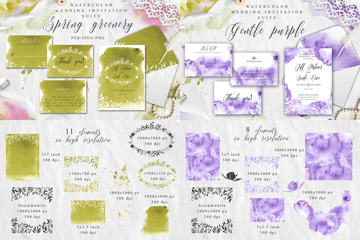 Watercolor Wedding Invitations Suits. GIANT BUNDLE