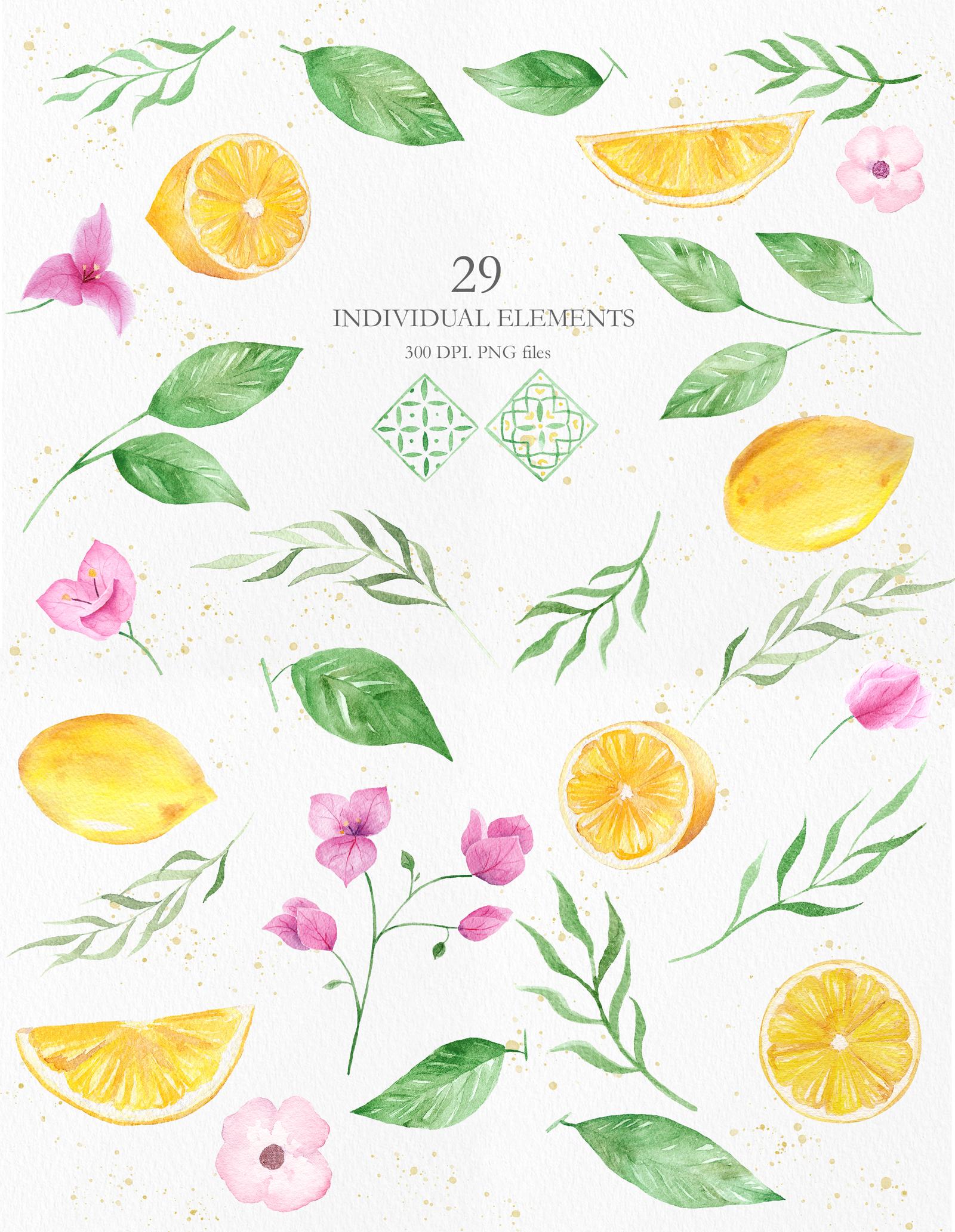 Watercolor Lemon Clipart Collection