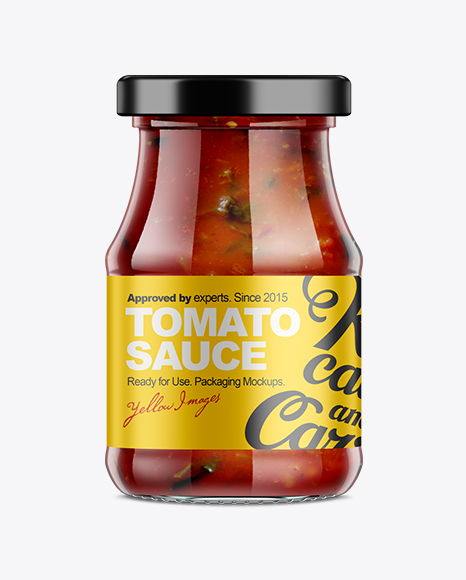 350g Glass Jar with Sauce Mock-up
