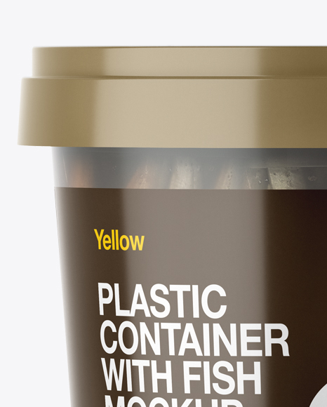 Frosted Plastic Container With Fish Mockup  - Eye-Level Shot