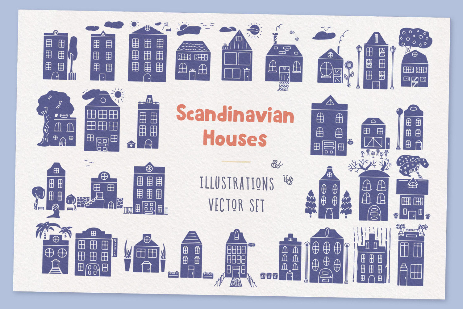 Scandinavian Houses Vector Images