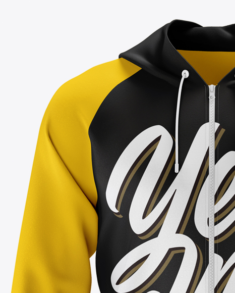 Download Raglan Hoodie Mockup Front View In Apparel Mockups On Yellow Images Object Mockups