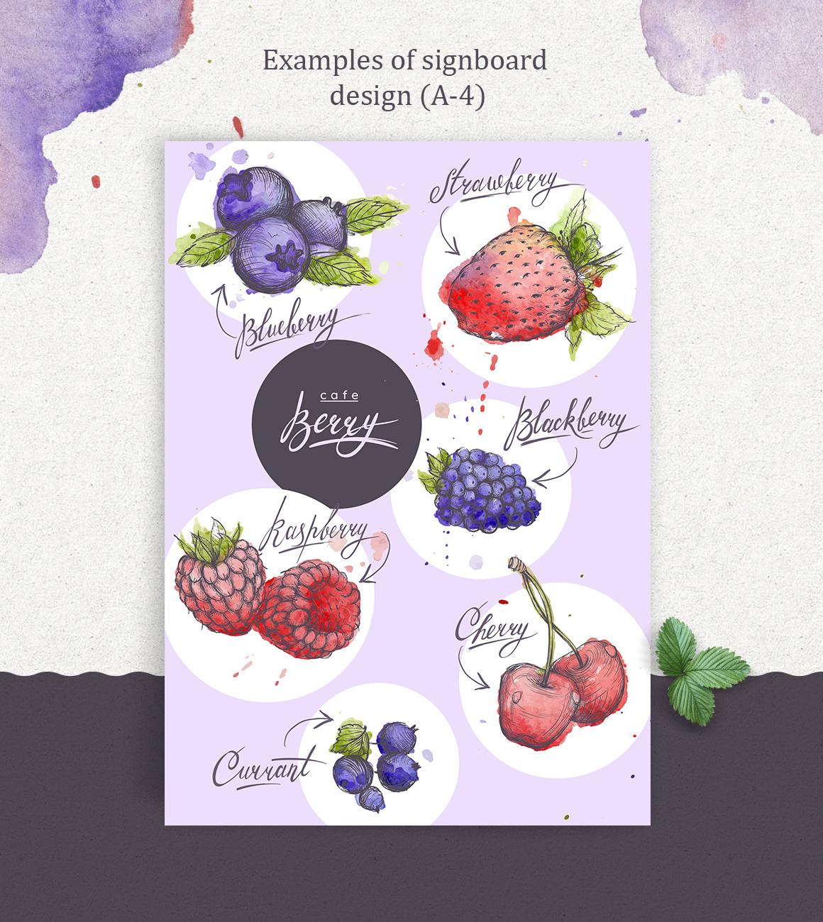 Hand drawn vector illustrations set – Berry!