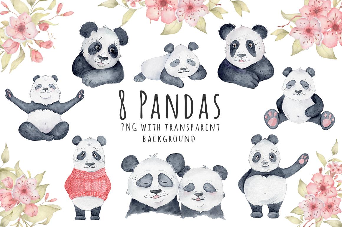 Lovely Pandas and Sakura watercolor set