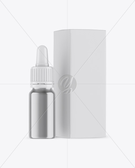 Metallic Dropper Bottle w/ Box Mockup