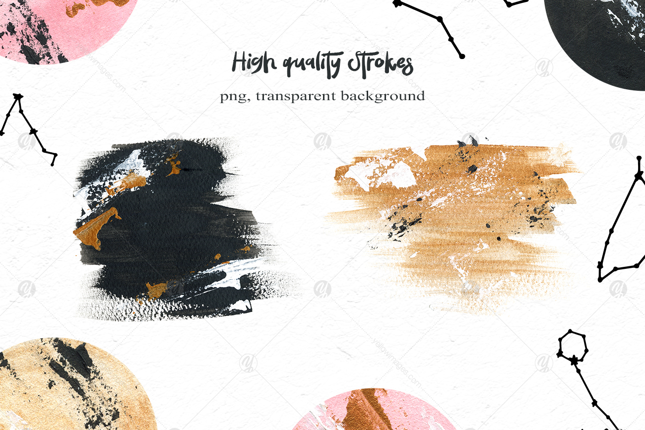 Black Moon clipart, watercolor stylish planet
