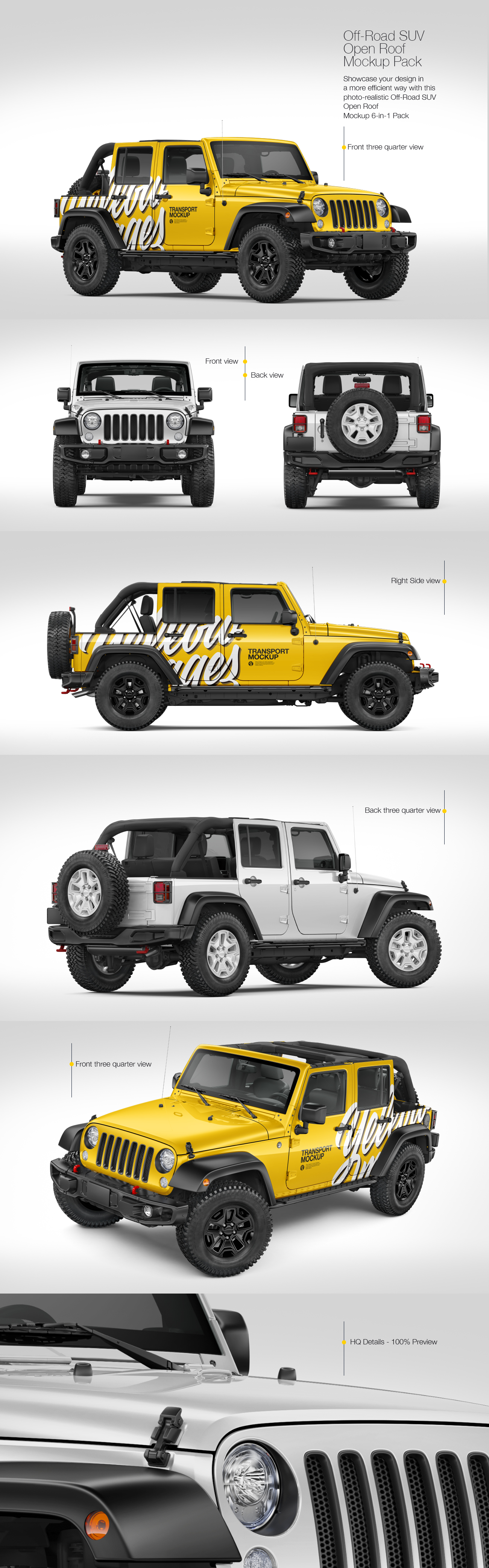 Off-Road SUV Open Roof Mockup Pack