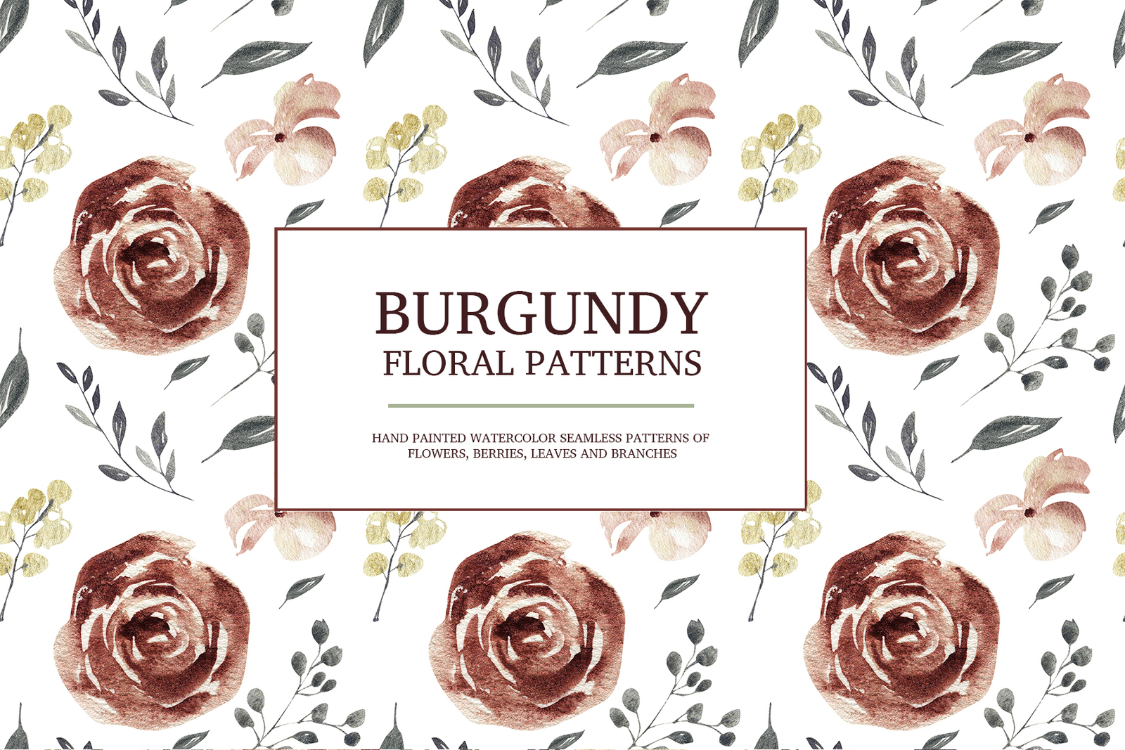 Burgundy floral seamless patterns