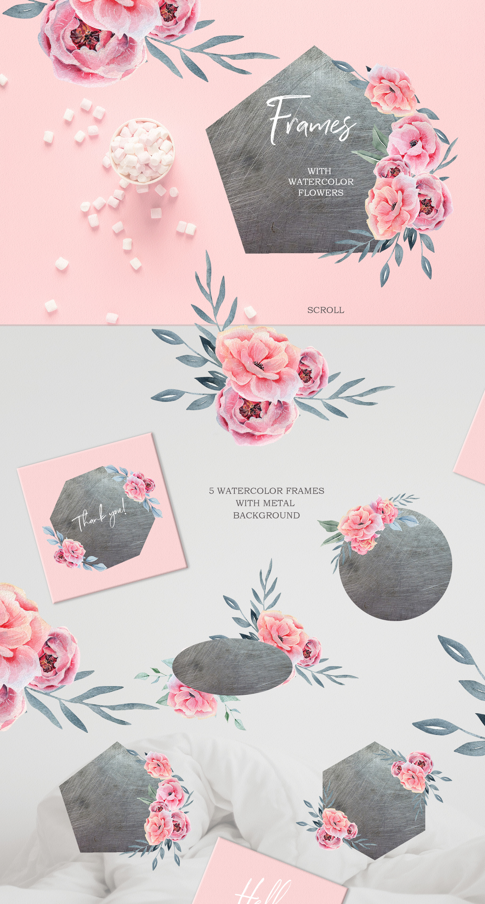 Watercolor Floral map, pink spring and summer flowers