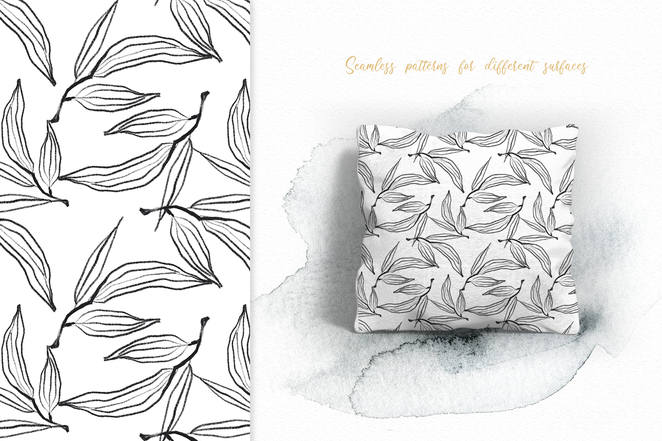 Flower and leaves sketch patterns