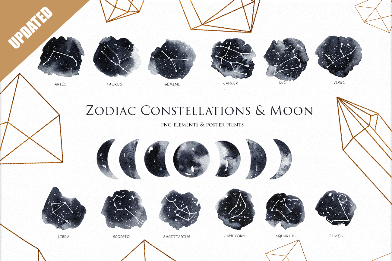 Zodiac Constellations & Moon clipart