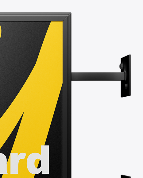 Square Signboard Wall Mounted Mockup