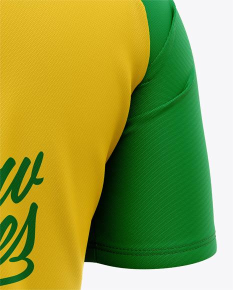 Men's Soccer Crew Neck Raglan Jersey Mockup - Back Half-Side View