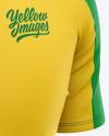 Men's Soccer Crew Neck Raglan Jersey Mockup - Front Half-Side View