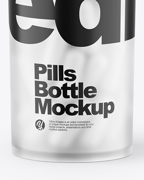 Frosted Bottle With Pills Mockup
