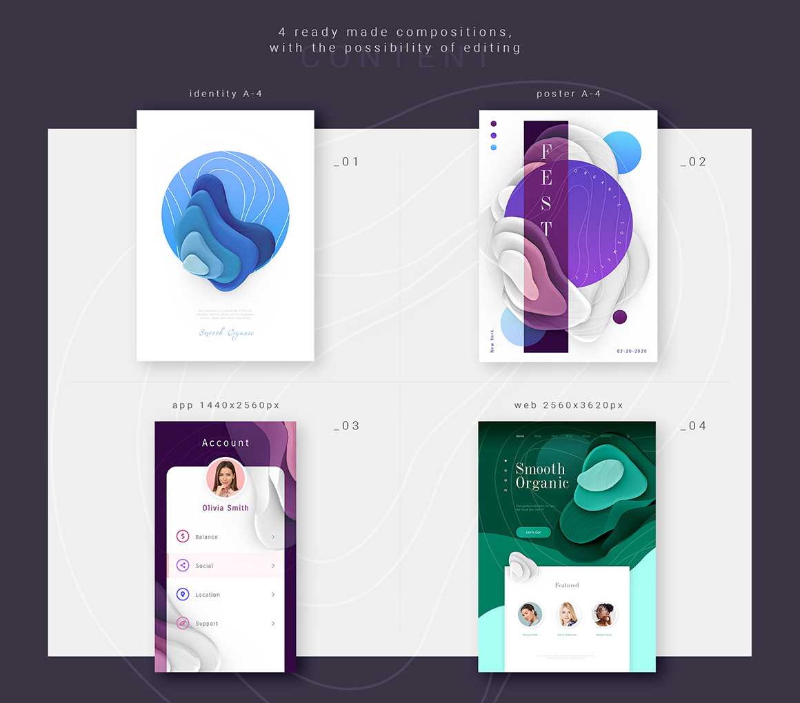 """Set of graphic elements """"Smooth Organic"""""""