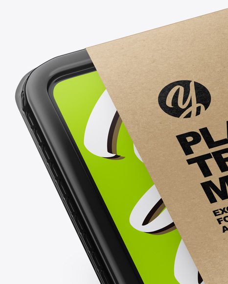 Plastic Tray with Paper Label Mockup