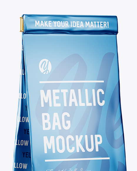 Matte Metallic Bag With Window Mockup - Half Side View