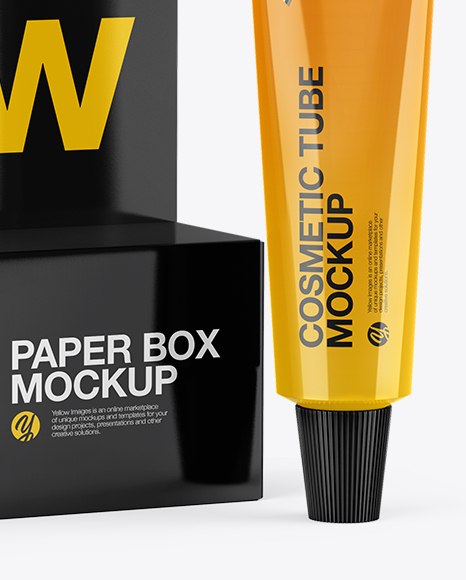 Paper Box With Glossy Tube Mockup