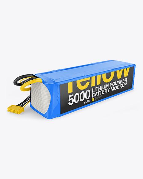 5000mAh 6S Lithium Polymer Battery Mockup - Half Side View