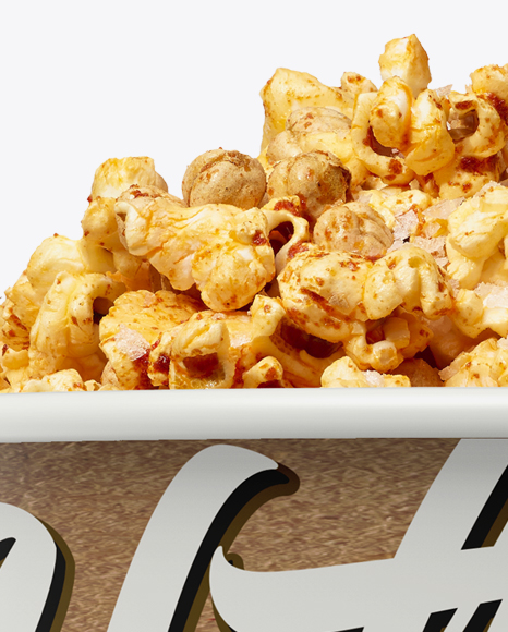 Large Kraft Caramel Popcorn Bucket Mockup - Eye-Level Shot