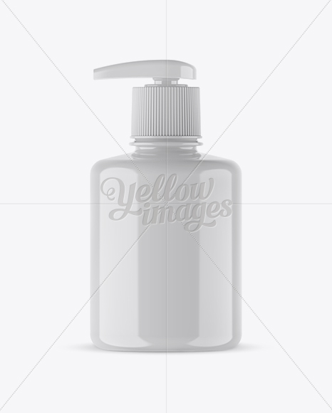 Glossy Liquid Soap Bottle with Pump Mockup - Front View