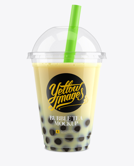 Banana Bubble Tea Cup Mockup - Front View