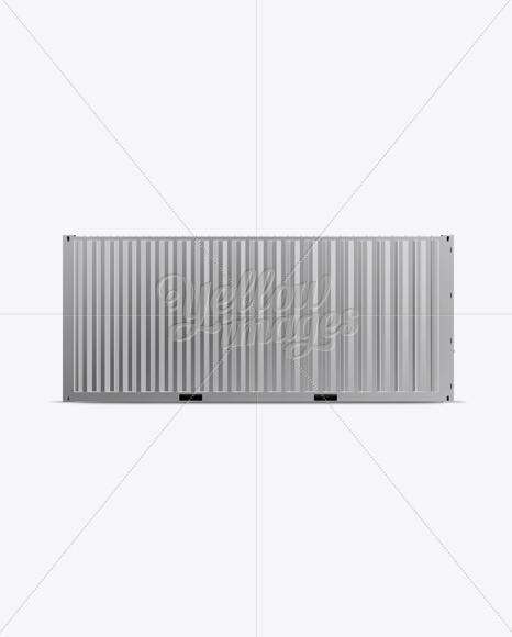 20F Metallic Shipping Container Mockup - Front View