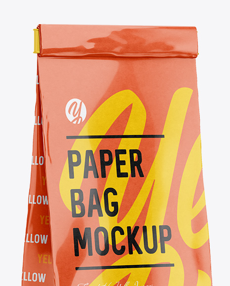 Glossy Paper Bag With Window Mockup - Half Side View