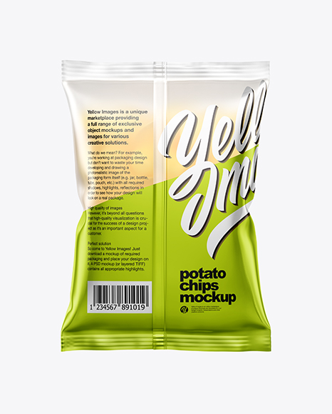 Frosted Bag With Potato Chips Mockup