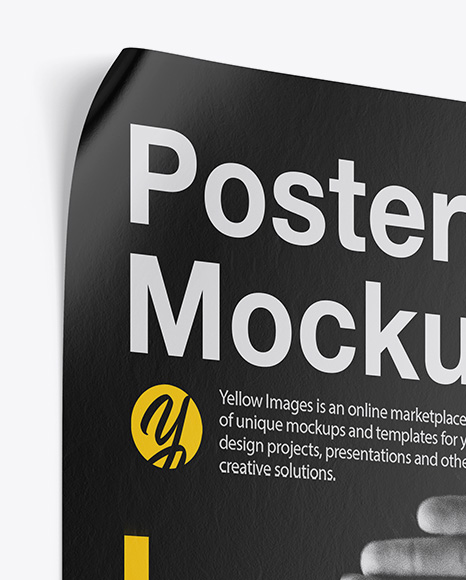 Textured Poster Mockup In Stationery Mockups On Yellow Images