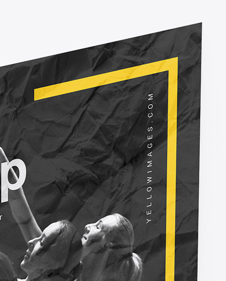 Crumpled Poster Mockup In Stationery Mockups On Yellow Images