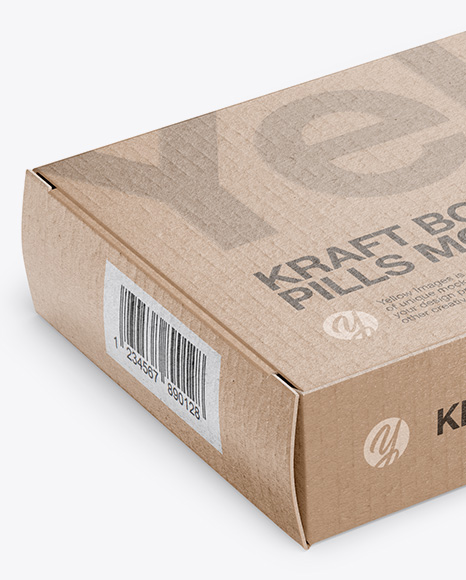 Kraft Glossy Pills Box Mockup - Halfside View (High-Angle Shot)