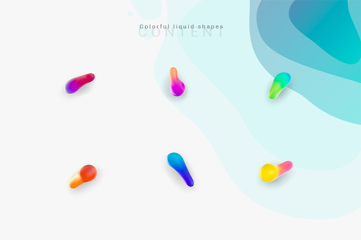 "Set of graphic elements ""Colorful liquid shapes"""