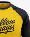 Men's Raglan 3/4 Length Sleeve T-Shirt Mockup - Front View