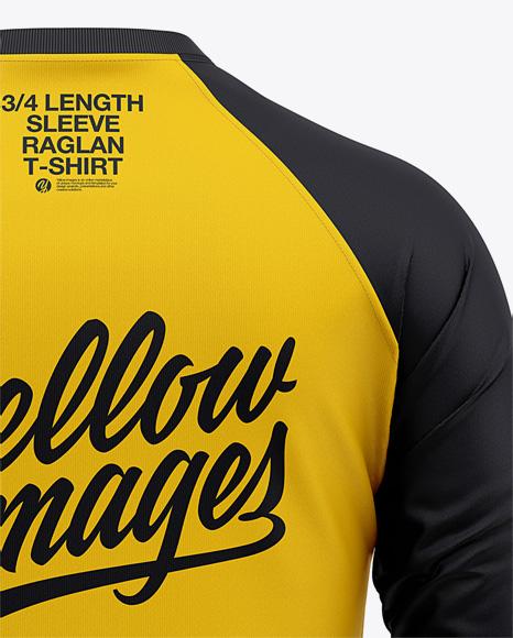 Download Men S Raglan 3 4 Length Sleeve T Shirt Mockup Back View In Apparel Mockups On Yellow Images Object Mockups PSD Mockup Templates