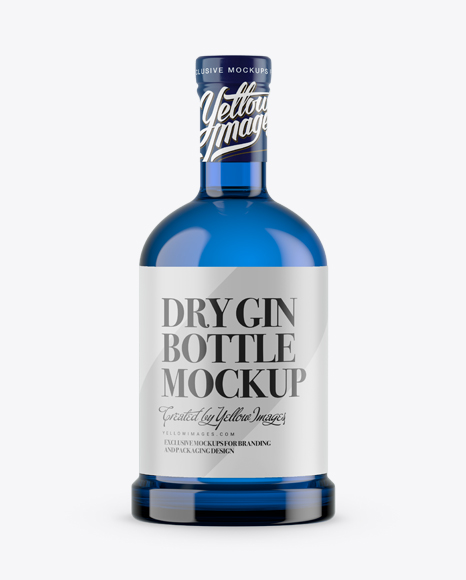 Blue Glass Bottle w/ Dry Gin Mockup