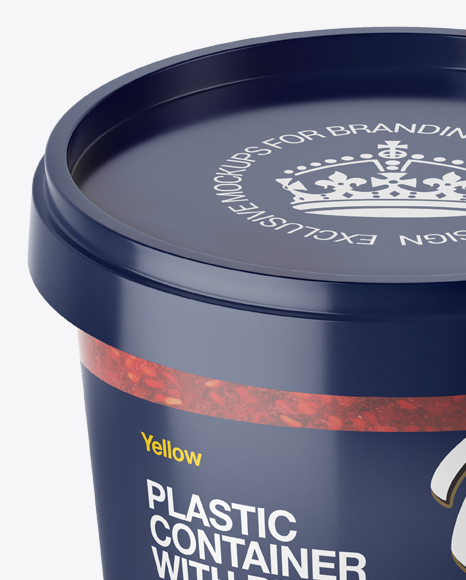 Frosted Plastic Container With Raspberry Jam Mockup - High-Angle Shot