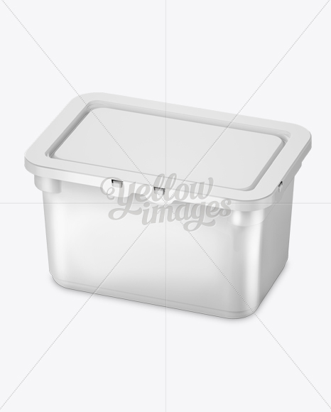 Plastic Container For Washing Capsules - Halfside View (High-Angle Shot)