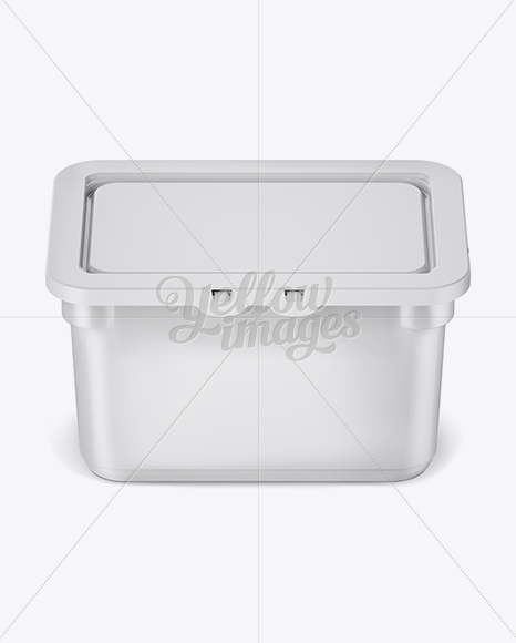 Plastic Container For Washing Capsules - Front View (High-Angle Shot)