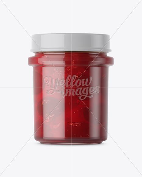 Download Glass Cherry Jam Jar Mockup Front View In Jar Mockups On Yellow Images Object Mockups PSD Mockup Templates