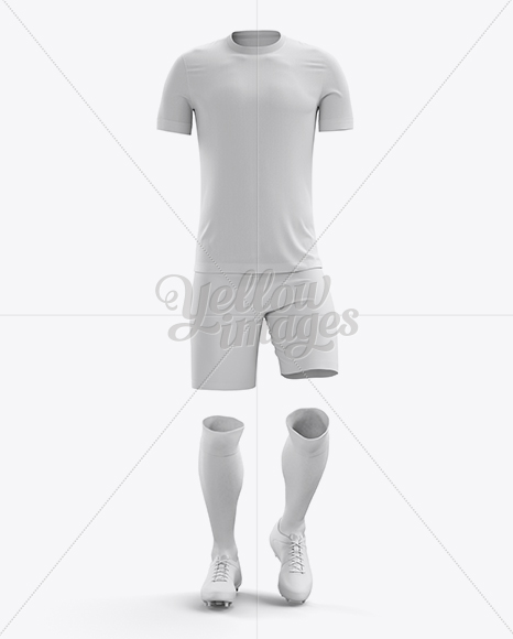 Download Mens Full Soccer Kit With Polo Shirt Mockup Hero Shot Yellow Images