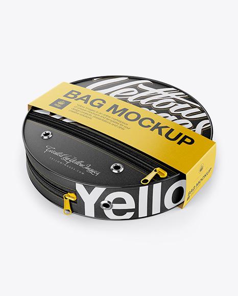 Folding Bucket With Cover Mockup - High-Angle Shot
