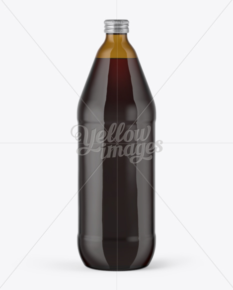 40oz Amber Glass Bottle with Red Ale Mockup