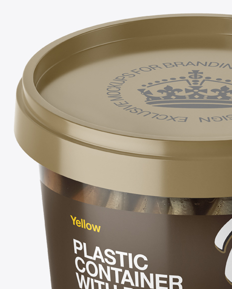 Glossy Plastic Container With Fish Mockup - High-Angle Shot
