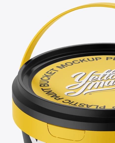 Plastic Paint Bucket Mockup - Halfside view (High-Angle Shot)