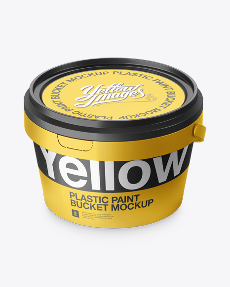 Metallic Paint Bucket Mockup - Halfside view (High-Angle Shot)