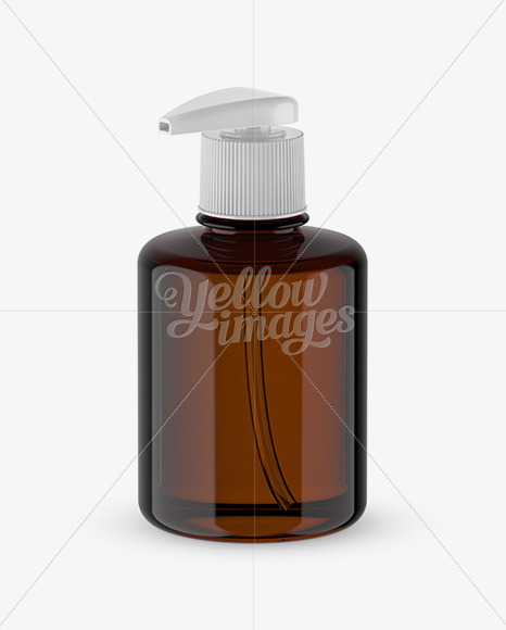 Amber Liquid Soap Bottle with Pump Mockup - Halfside View (High-Angle Shot)