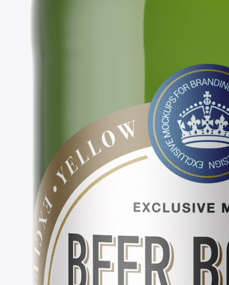 40oz Green Glass Bottle with Lager Beer Mockup
