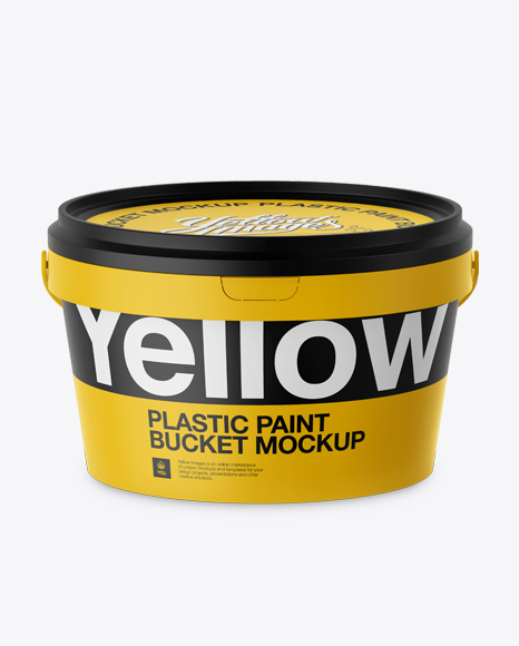 Plastic Paint Bucket Mockup - Front View (High-Angle Shot)